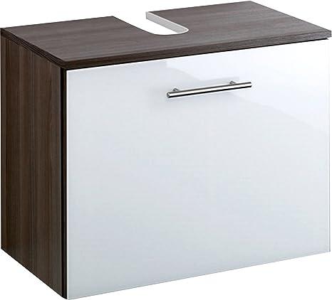 Held Möbel 095.3058 Atlanta Unterbecken / 1 Metall-Vollauszug / 60 x 47 x 35 cm/ Glanz-weiß / eiche-dunkel