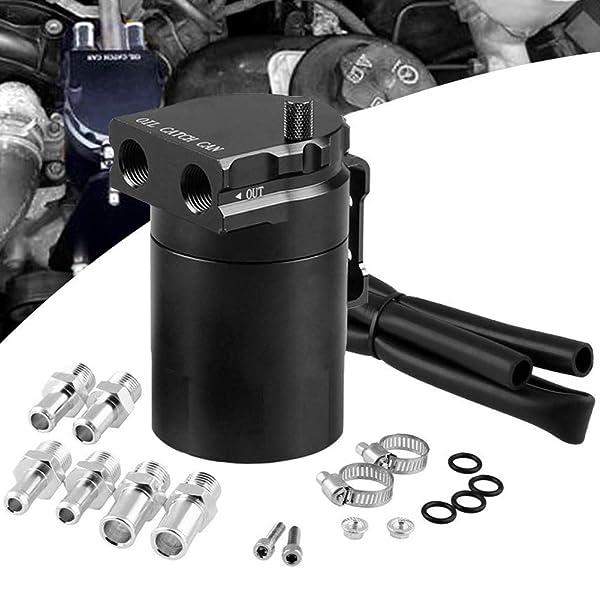 Oil Tank With Filter Universal Black Aluminum Car Oil Catch Can Reservoir Tank