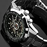 ESS Black Bezel Skeleton Dial Mechanical Automatic Watch Mens Stainless Steel Case WM257