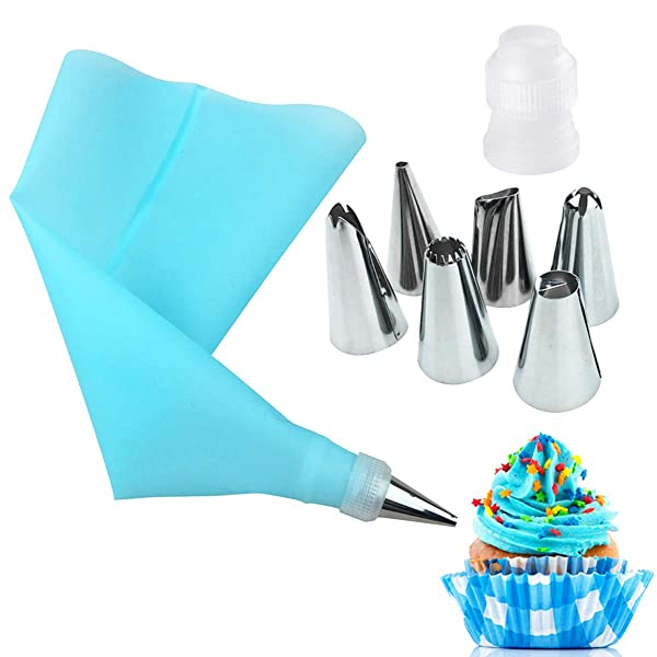 Cake Decorating Tip Set, 6 Stainless Steel Nozzle DIY Cake Decorating Tips Bakeware Utensil for Cakes Cupcakes Cookies (Color: Blue#, Tamaño: Pack of 8)