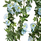 Morning Glory Artificial Silk Flowers Hanging Plant Vine for DIY Garland Home Party Wedding Garden Decor Pack of 2 (Light Blue)