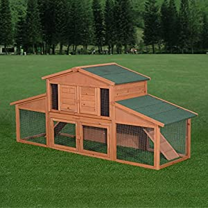 "PawHut 90.6"" Large Rabbit Hutch Chicken Coop Wood Small Animal Cage Habitat Pet House w/ Run"