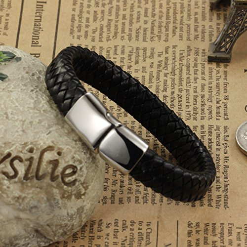 #Ostan  #8211; #Gotik #316L #Edelstahl und #Leder #Armbänder #Armreifen #Herren #Armband  #8211; #Neue #Mode #Schmuck #Armschmuck, #Schwarz