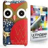 CASEiLIKE ® - Owl-Grafik-Design: RED - Snap on Back Cover Gehäuse für Apple 4G Touch / iPod Touch 4.Generation - mit Displayschutzfolie 1pcs.