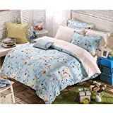 FeiLimei Bedding&Clothes 布団カバー 綿 花柄 4点セット BC605
