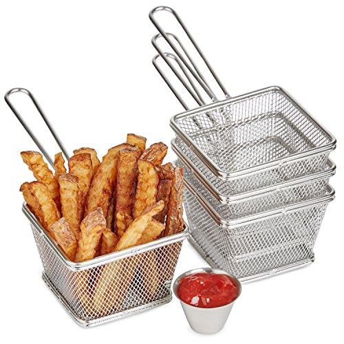 Plats de Service à Frites Andrew James - 4 Paniers et 4 Pots pour Sauce en Inox - Garantie Deux Ans