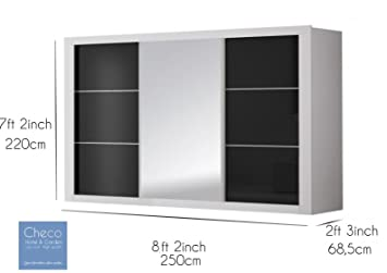 FAST&FREE DELIVERY BIG BRAND NEW MODERN SLIDING DOOR WARDROBE 8 ft 2 (250cm) - ROMA