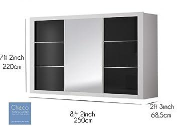 FAST&FREE DELIVERY BIG BRAND NEW MODERN SLIDING DOOR WARDROBE 8 ft 2 (250cm) - ROMA