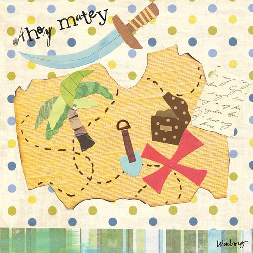 Oopsy daisy X Marks The Spot Treasure Map Stretched Canvas Wall Art by Winborg Sisters, 18 by 18-Inch