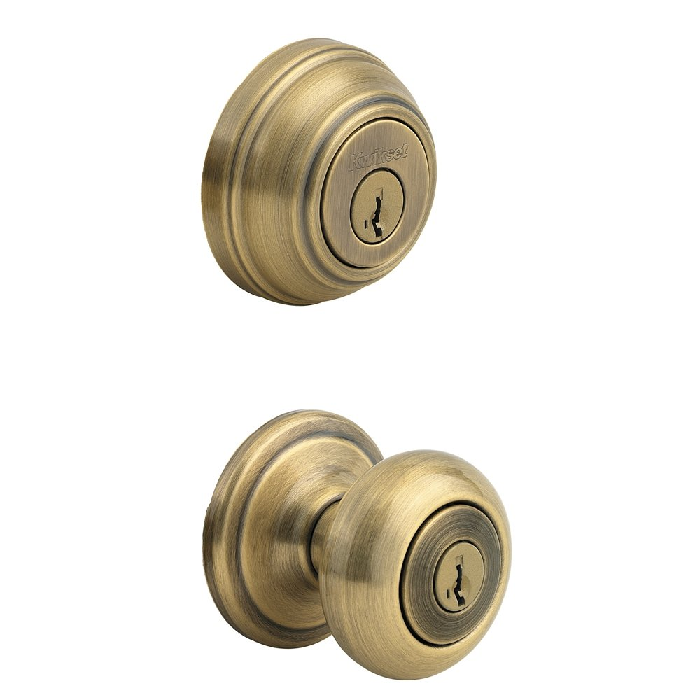 Front Door Deadbolt Knob Brass Round Set Exterior Universal Adjustable Key Lo