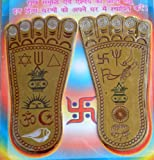 "SRI LAXMI LAKSHMI CHARAN PADUKA (LAXMI'S FEET) BLESSED & ENERGIZED BEAUTIFULLY HANDCRAFTED ENAMELED 3"" SIZE PREMIUM QUALITY AMULET LUCKY CHARM OR YANTRA-FOR IMMENSE WEALTH AND PROSPERITY"