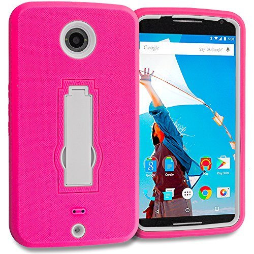 Accessory Planet(TM) Hot Pink / White Heavy Duty Hybrid Hard/Soft Silicone Case Cover with Stand Accessory for Motorola Google Nexus 6