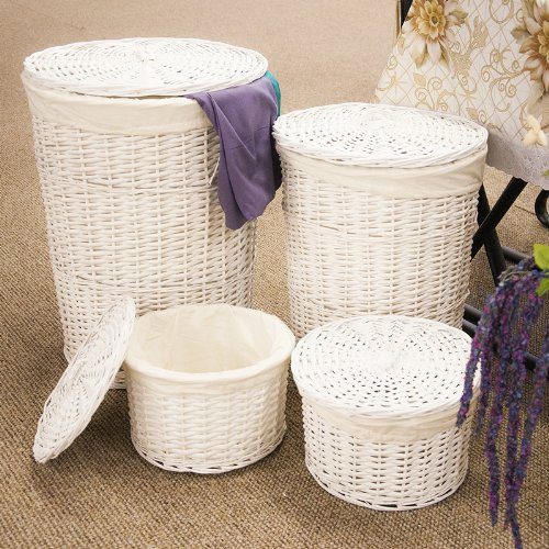 set of 4 white round wicker laundry storage basket with lids and cotton lining price on each photo. Black Bedroom Furniture Sets. Home Design Ideas