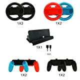 abcGoodefg 10 in 1 Nintendo Switch Accessory Kits Sets, 4x Joy-Con Steering Wheel and 4x Joy Con Grips Handle for Joy-Con Controller, 1x Charging Dock Stand with 1x Type C Cable for Nintendo Switch (Color: 10 in 1 Nintendo Switch Accessory Kits Sets)