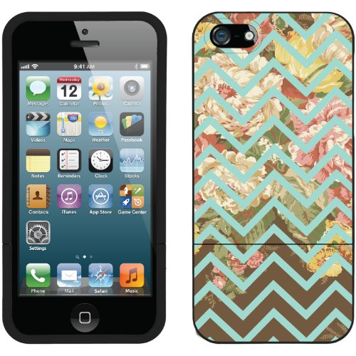 Great Sale Floral Chevron Blue design on a Black iPhone 5 Slider Case by Coveroo