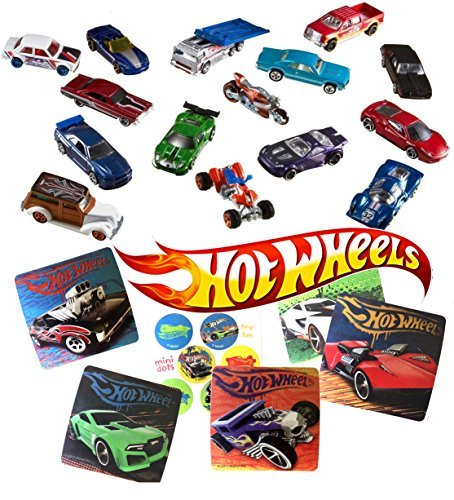 50 MEGA Party Pack Hot Wheels Random Cars & Stickers Fun Collectible Set Car 50-Pack Random Bundle (50s Tattoos)