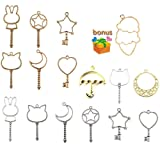 Key Open Bezel, Qiancraftkits 15pcs Magic Wand Open Bezel Charms, Silver&Gold Blank Frame Pendant for UV Resin Crafts/Jewelry Making (Includes Extra Bonus)