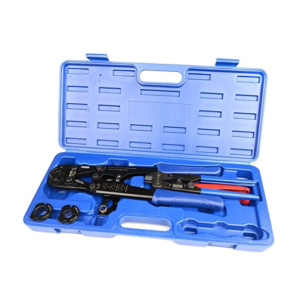 IWISS PEX Pipe Crimping Tool for Crimp Jaw Sets 3/-8-inch,1/2-inch,3/4-inch,1-inch with PEX Ring Remove Tool & PEX Pipe Cutters suit All US F1807 Standards
