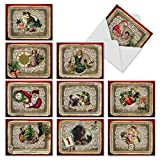 M1760XS Lacy Holidays: 10 Assorted Christmas Note Cards Feature Victorian Sentimental Images, w/White Envelopes.