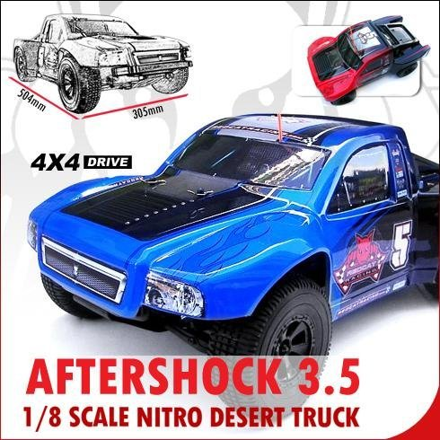 AFTERSHOCK 3.5 DESERT TRUCK ~ NITRO 1/8 Scale RC ~ (Now with 2.4GHz Remote) ~ By Redcat Racing ~ BLUE/BLACK :