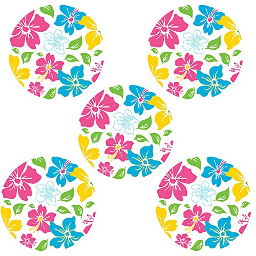Girls Tropical Pink & Blue Flower Circles - Peel & Stick - 5pc Wall Decal Accent Murals - 1