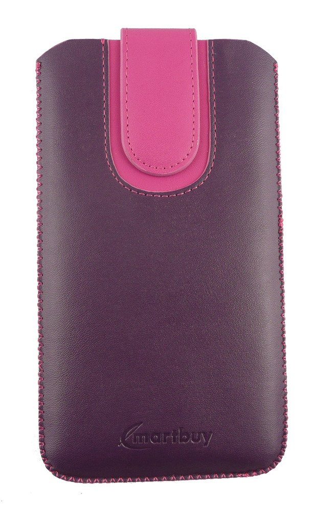 Emartbuy® Purple / Pink Plain Premium PU Leather Slide in Pouch Case Cover Sleeve Holder ( Size 3XL ) With Pull Tab Mechanism Suitable For Samsung Galaxy Luna