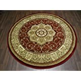 Red Traditional Carved Circle Round Rug 150x150cm Approx 5x5