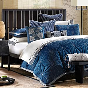 Artology Sashiko Mini Comforter Set, Queen, Indigo Blue