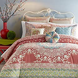 King Size Comforter Set with Modern Floral Medallion Print - 3 Pieces, Coral Color