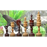 Chessbazaar The Lotus Series Blood Red Pipe Shaped Chess Pieces In Bud Rose & Box Wood