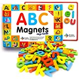 Pixel Premium ABC Magnets for Kids Gift Set - 104 Magnetic Letters for Fridge, Dry Erase Magnetic Board and FREE e-Book with 40+ Learning & Spelling Games - Best Alphabet Magnets for Refrigerator Fun!