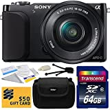 Sony NEX3 NEX-3 NEX3NL NEX-3NL B Compact Mirrorless Interchangeable Lens Digital Camera with 16-50mm f 3.5-5.6 Lens (Black) with Starter Accessories Bundle Kit includes 64GB Class 10 SDHC Memory Card + Hard Shell Carrying Case + Camera Lens Cleaning Kit + Bonus $50 Gift Card for Digital Prints