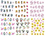 Nail Art Water Slide Tattoo Transfers Kitty, Smiley, Micio Kitty, Panda, etc - 6 pack Mixed Design