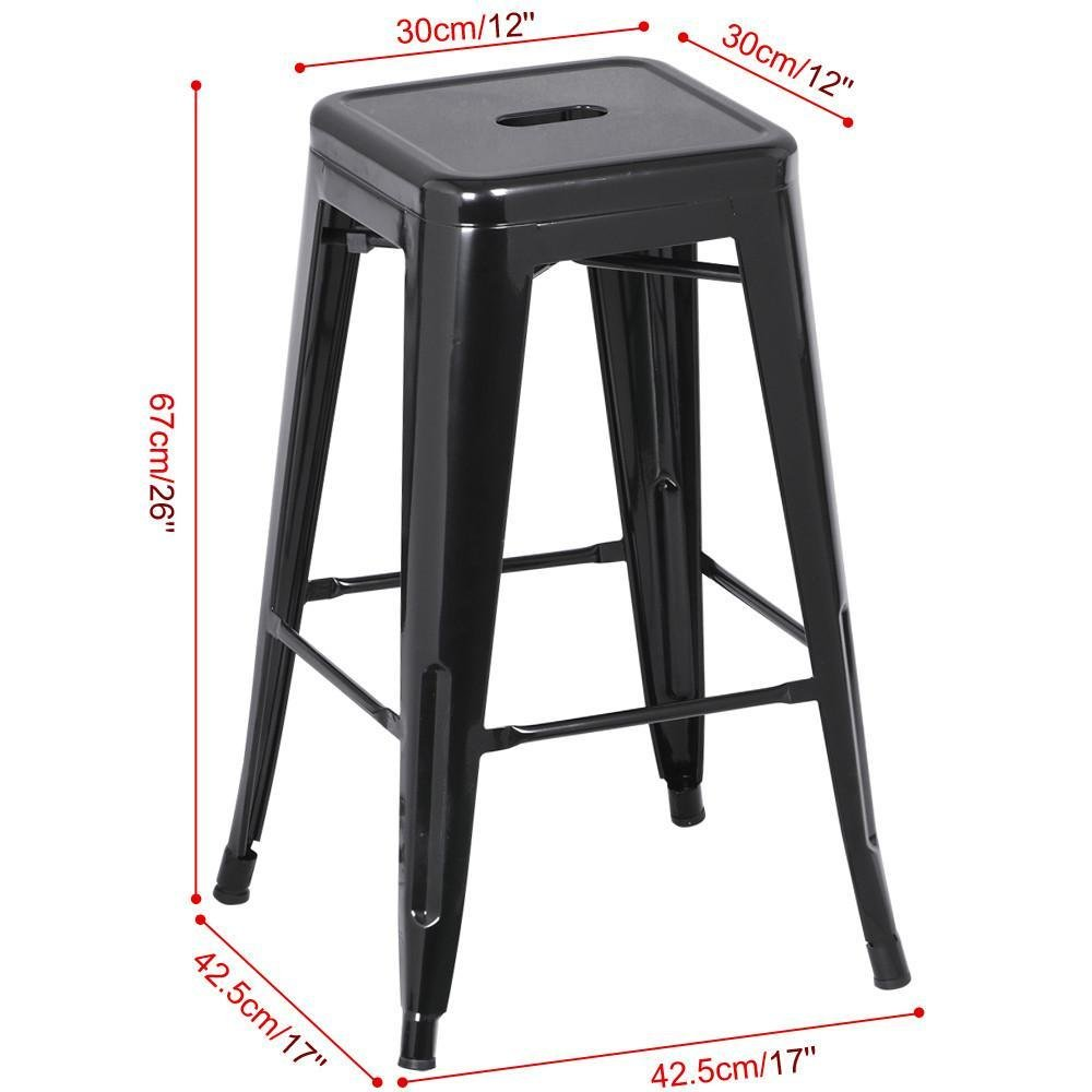 go2buy 6 PCs 26'' Metal Frame Bar Stools Vintage Counter Bar Stool Heavy Duty Black 3
