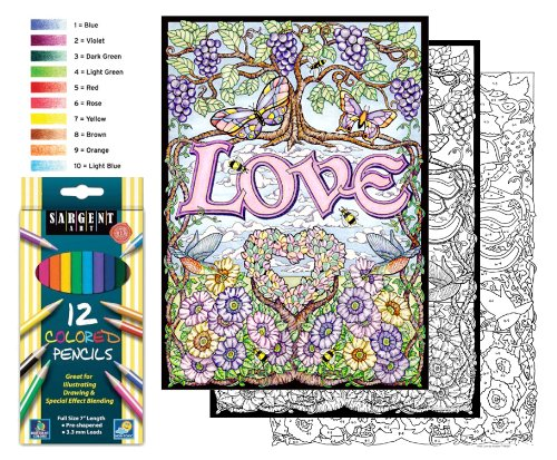Love - Color By Number Poster Set - Includes 12 Coloring Pencils - 1