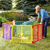 North States Superyard Colorplay 6-Panel Play Yard, Portable Indoor-Outdoor, Multi-Colored (Color: Multicolor)