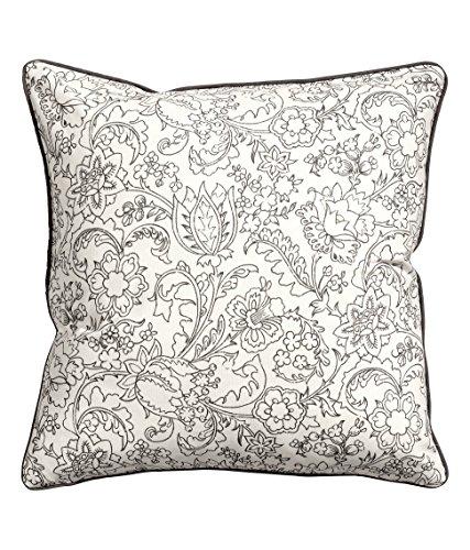 "Floral Design Accent Decorative 100% Cotton Canvas Throw Pillow Cover Cushion 20 X 20"" Reversible Floral Lace And Diamond Tiles (White) front-963242"