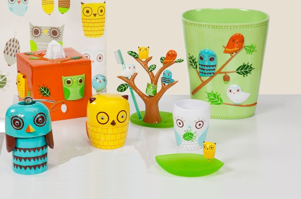 Give A Hoot - 7 Piece Resin Bathroom Accessory Set - Retro Owl Design