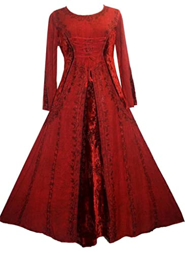 Agan Traders 204 DR Peasant Bohemian Velvet Corset Long Formal Dress Gown