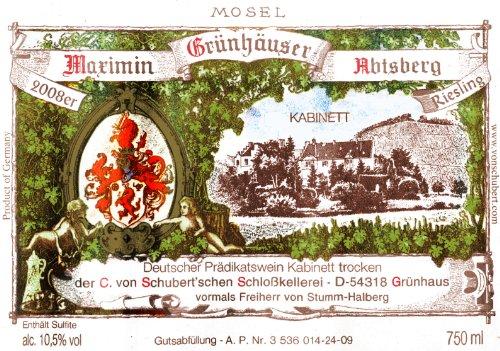 2008 Von Schubert Maximin Grunhauser Abtsberg Riesling Kabinett Trocken 750 Ml