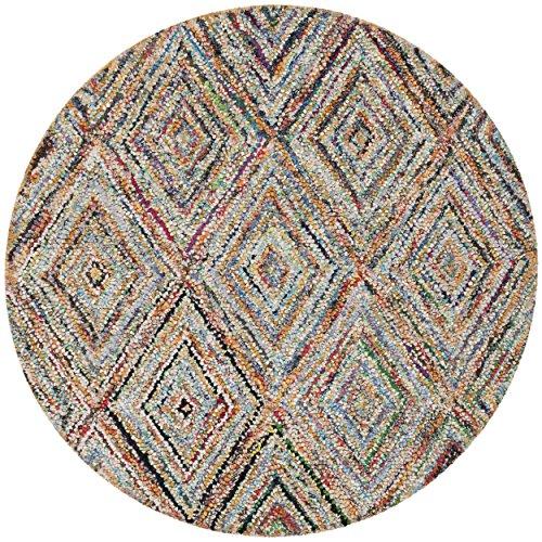 Safavieh Nantucket Collection NAN314A Handmade Multicolored Cotton Round Area Rug, 6 feet in Diameter (6' Diameter)