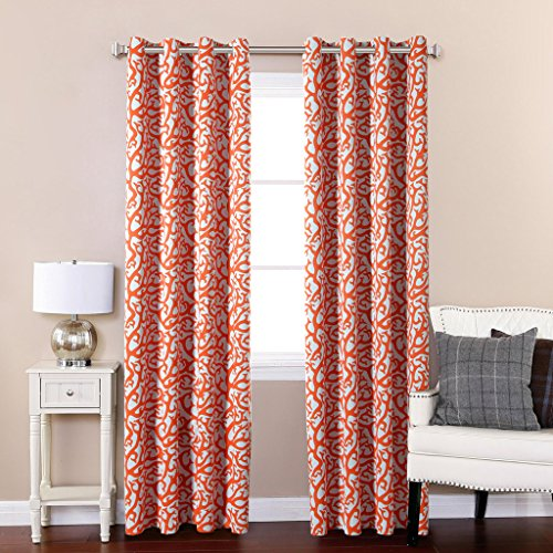 H.Versailtex Printed Blackout Room Darkening Bedroom Curtains Window Panel Drapes,Grommet Top,52 inch Wide by 84 inch Long - Coral Reef Pattern in Orange and White (1 Pair) (Thermal Striped Pair Of Curtains compare prices)