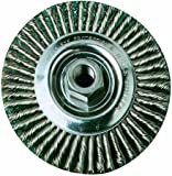 """SAIT 06445 4"""" x .020 x 5/8-11 Arbor Stainless Bristle Stringer Bead Knot & Crimped Style Angle Grinder Wire Wheel"""