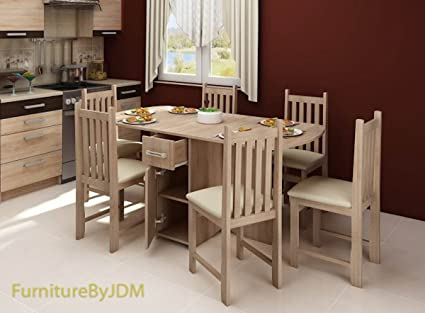 Folded, Modern Dining Table Set - EXPERT - With 4 Chairs. (Wenge)