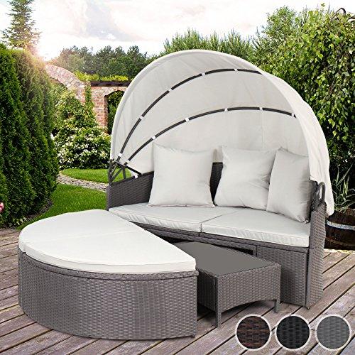 Miadomodo Sdraio divano lettino prendisole isola giardino esterno con parasole e tavolino colore a scelta (grigio)