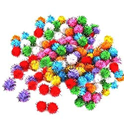 Generic Pack of 100Pcs Mini Tinsel Sparkly Small Pom Pom Ball Cat Kitten Pet Bird Play Toys