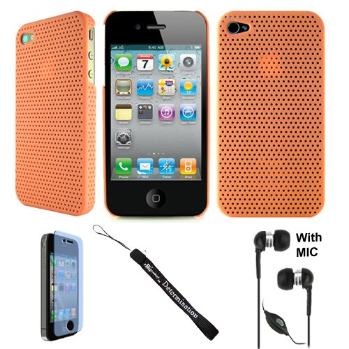 Aero Air Mesh Design Custom Style Durable For Apple Iphone 4 + Determination Hand Strap + Handsfree Earphones