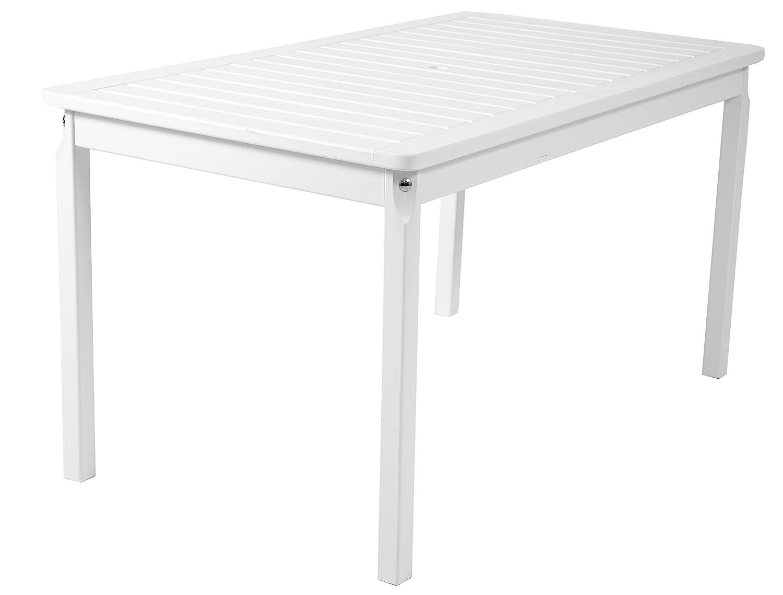 Ambientehome Gartentisch Tisch Massivholz Esstisch EVJE, Weiß, ca. 135 x 70 cm günstig online kaufen
