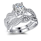 MABELLA 925 Solid Sterling Silver Matching Bridal Set Wedding Engagement Rings CZ Eternity Ring For Women