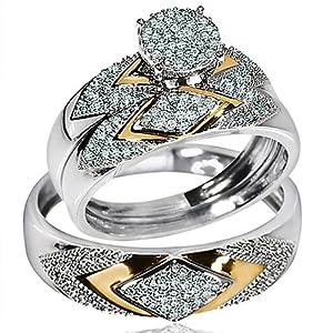 Amazon His Her Wedding Rings Set Trio Men Women 14k White Yellow Gold Two Tone Jewelry